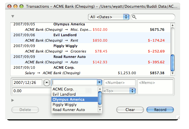 Image of Transactions with Description Pulldown (OS X)