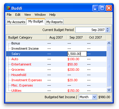 Buddi - Tutorial: Budget Categories